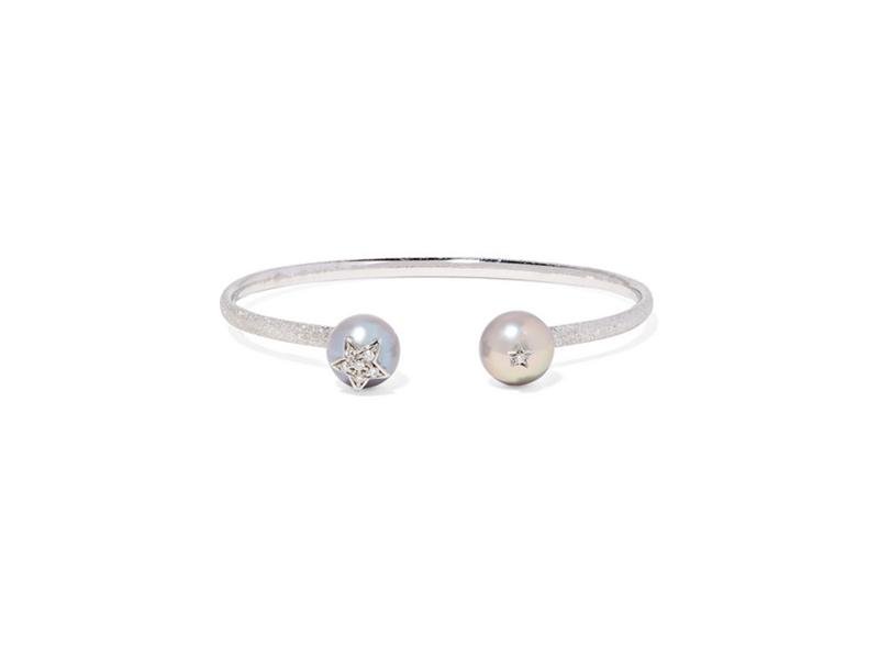Carolina Bucci Super stellar bangle mounted on 18 karat white gold with pearl and diamonds - 1481€
