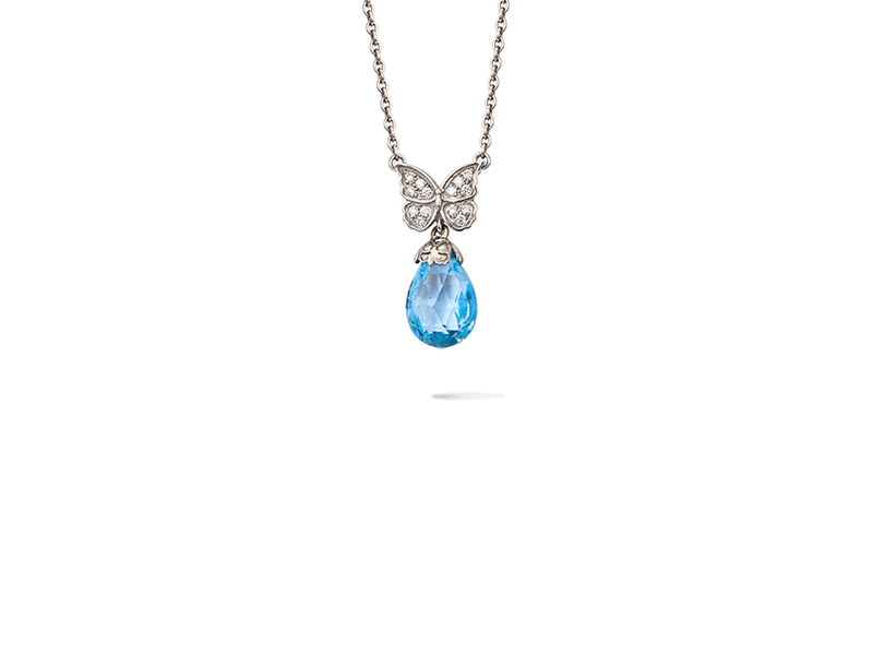 Carrera y carrera Baile de mariposas collection pendant in white gold with blue topaz & diamonds
