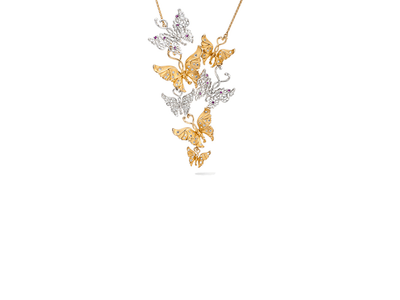 Carrera y carrera Alegoría maxi necklace mounted on yellow and white gold with pink sapphires & diamonds