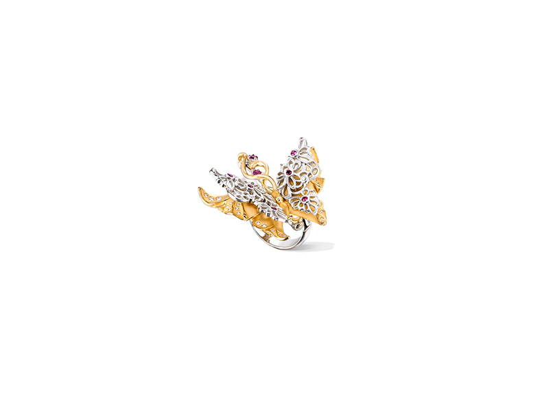Carrera y carrera Universo collection alegoría maxi ring yellow and white gold pink sapphires and diamonds