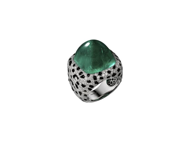 Cartier Panthere de Cartier ring mounted on platinium with emerald & colored stone