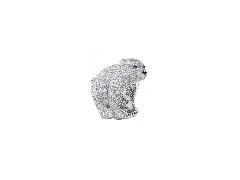 Chopard A Precious polar bear ring mounted on white gold  white diamonds colored stones ring