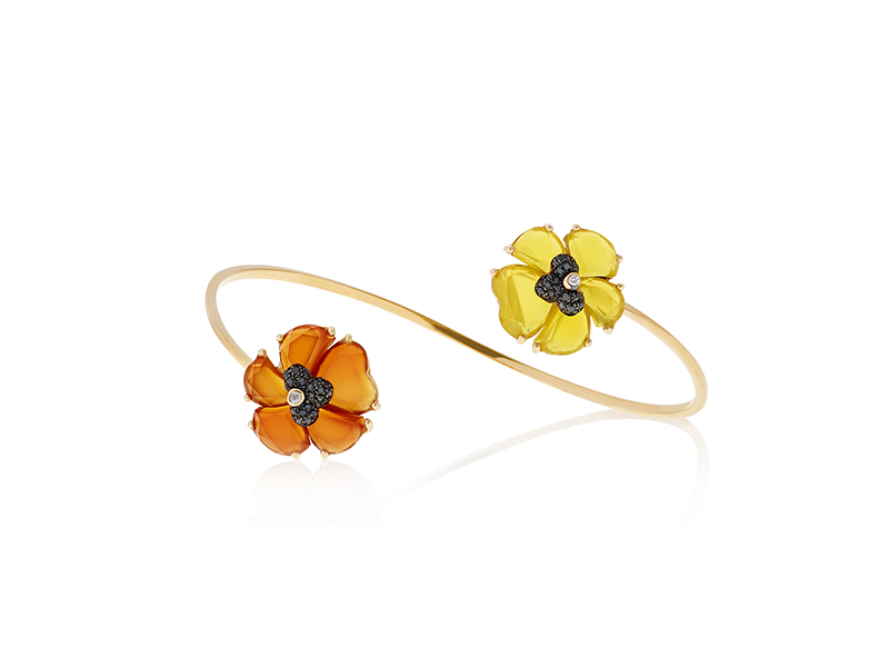 Christina Debs Carnelian & Mango Agate bangle with black diamonds mounted on 18K pink gold