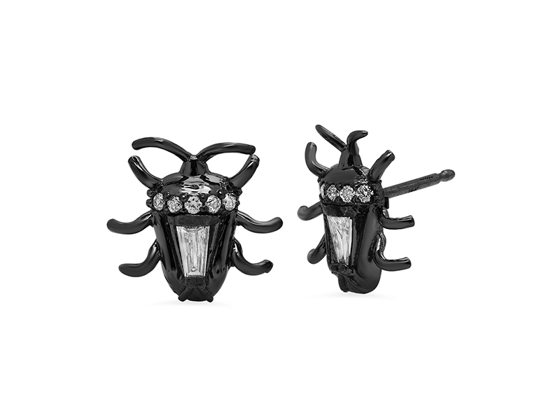 Colette jewelry Bug del bebé studs mounted on black gold with diamonds - 2180 $