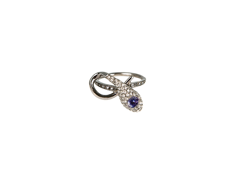 Colette Jewelry baby snake ring mounted on black gold white diamonds & tanzanite - 2'655 €