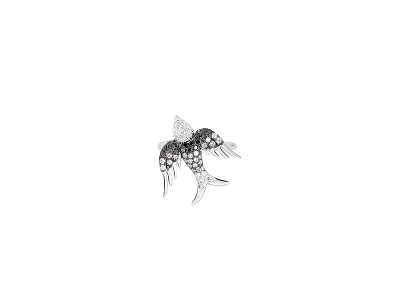 Colette Jewelry Bird phalanx ring mounted on white gold with white grey and black diamonds - 2'320 €