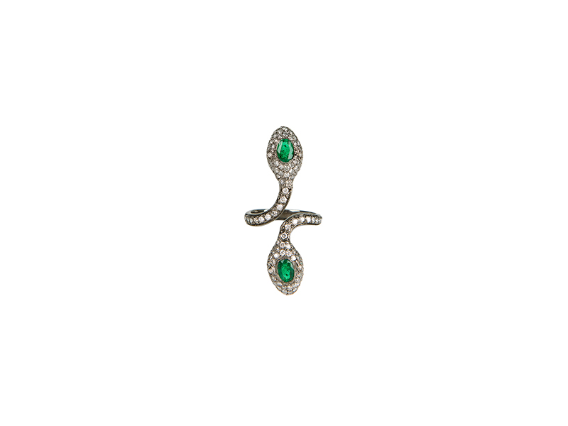 Colette Jewelry Double head snake ring mounted on black gold white diamonds & emeralds 4'255 €
