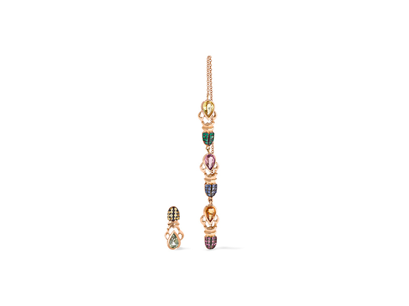 Daniela Villegas Follow the Khepri earrings mounted on 18 karat rose gold, sapphire and emerald earrings - 6'322 €