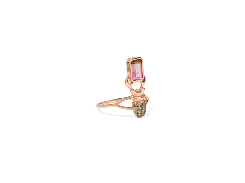Daniela Villegas Khepri phalanx ring mounted on 18K rose gold with peridot & tourmaline 1'352 €