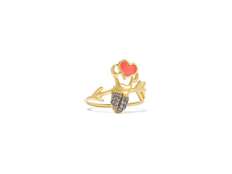 Daniela Villegas Khepri Love phalanx ring 18K gold with sapphire & enamel 1'408€