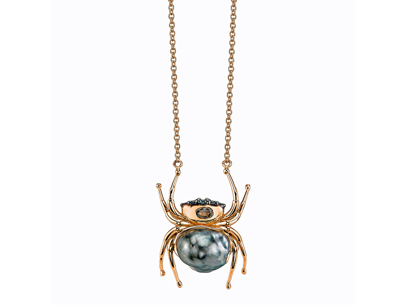 Daniela Villegas Spider necklace mounted on rose gold with a keshi pearl and diamonds
