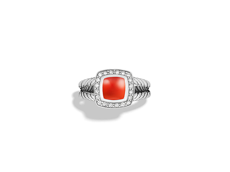 David Yurman Petite albion ring with carnelian & diamonds - 675$