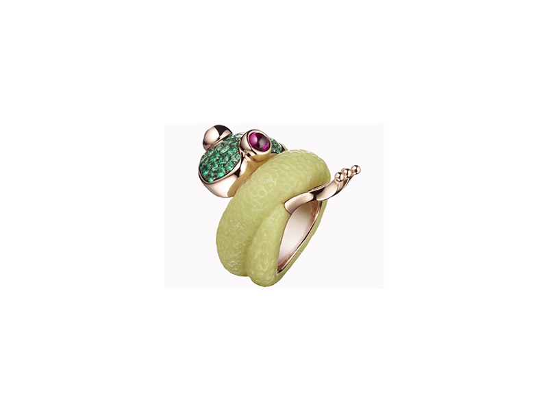De Grisogono The mascote - Ring mounted on pink gold with emeralds, rubies and green alabastrite