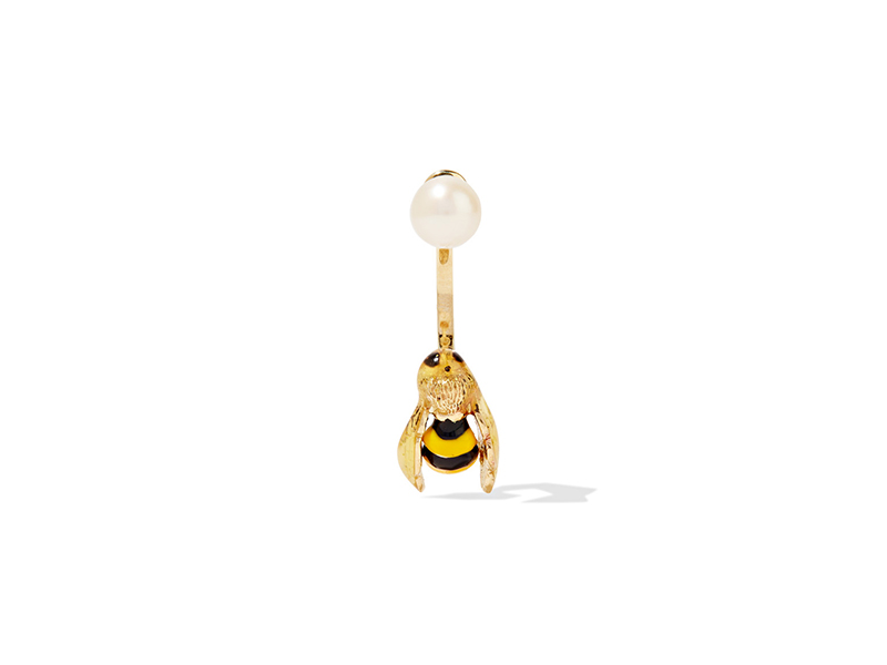 Delfina Delettrez Bee earring mounted on 9 karat gold, enamel & pearl - 341 €