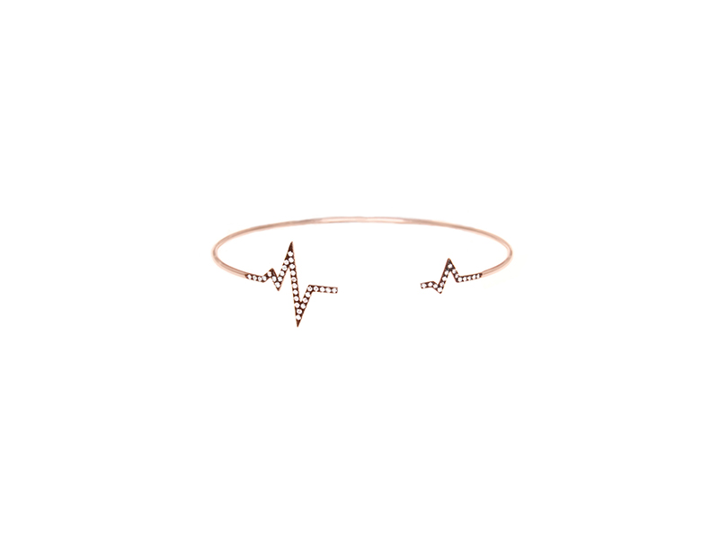 Diane Kordas Heart beat bangle mounted on rose gold and black rhodium with white diamonds - 1585 £