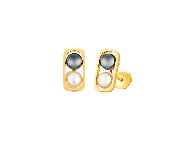 Dinh Van 2 Pearls collection cufflinks mounted on yellow gol with fresh water and hematite pearls