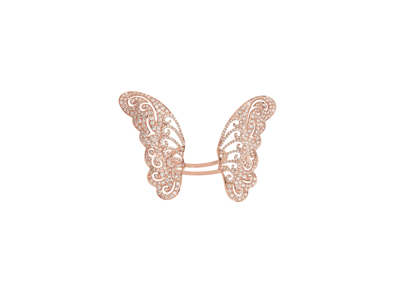 Djula Butterfly ring mounted on rose gold & diamonds - 7595 €