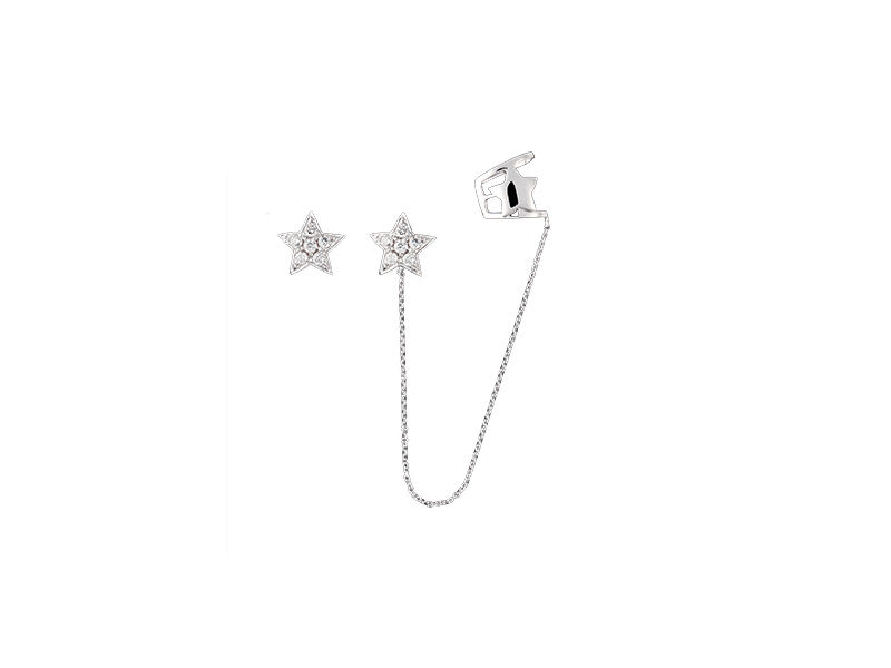 Djula Stars gold  and diamonds chain ear cuff mounted on white gold with white diamonds - 1440 $