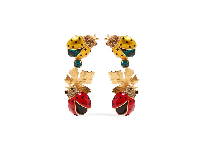 Dolce & Gabbana Clip earrings mounted on gold-plated, crystal and enamel - 706Euros