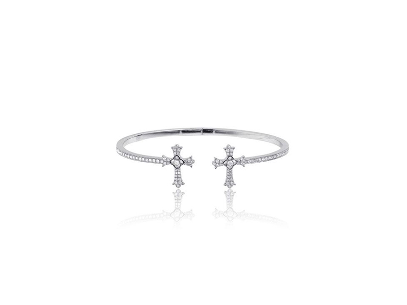 Elise Dray Bracelet twins cross mounted on white gold with white diamond