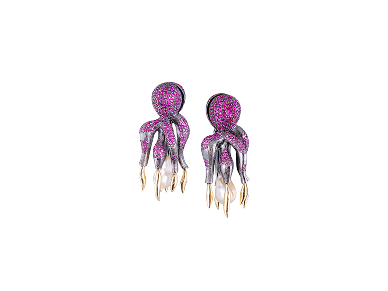 Gaelle Khouri Octopus earrings in yellow gold and black rhodium silver set with rubies pink sapphires and chinese pearls