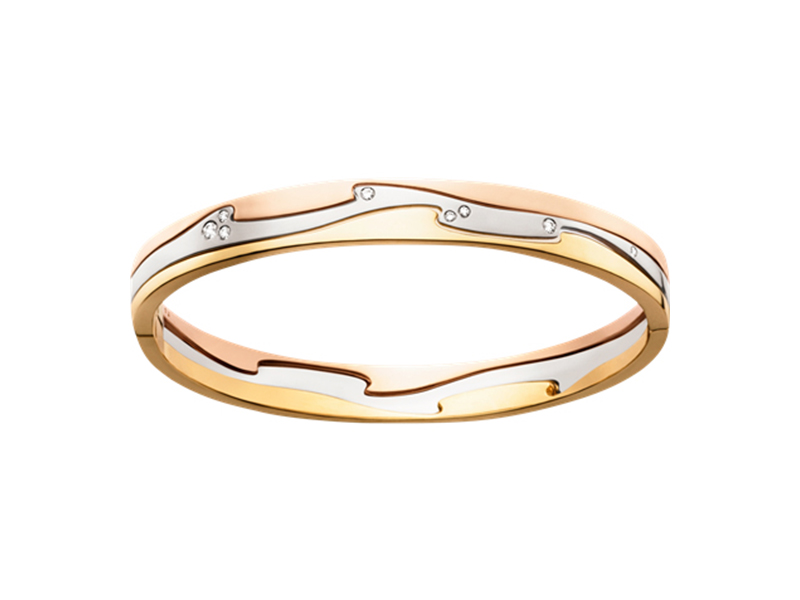 Georg Jensen Fusion bangle in 18 kt yellow, white and rose gold with brilliant cut diamonds - 5200£
