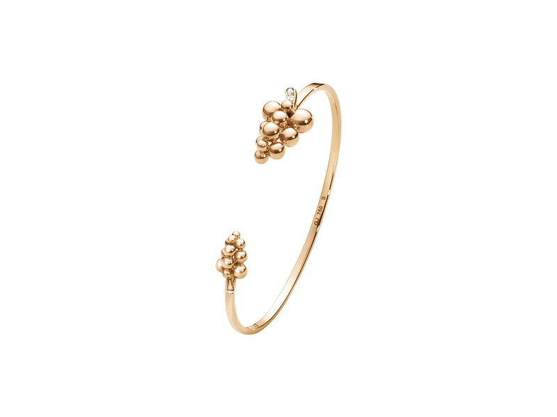Georg Jensen moonlight grapes bangle mounted on 18 kt rose gold with brilliant cut diamonds - 2600$