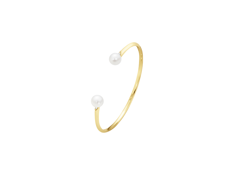 Georg Jensen Neva bangle mounted on 18 kt yellow gold with pearls and brilliant cut diamonds - 2425$