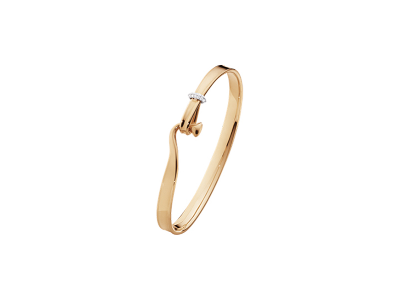 Georg Jensen Torun bangle in rose gold with brilliant cut diamonds - 5050$