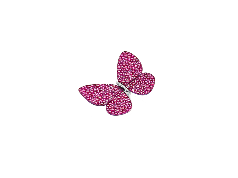 Glenn Spiro Titanium and white gold butterfly ring with brilliant cut burmese rubies and brilliant cut white diamonds