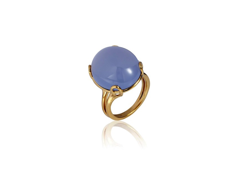 Goshwara Rock'n Roll ring mounted on yellow gold featuring a blue chalcedony cabochon - 2233 £