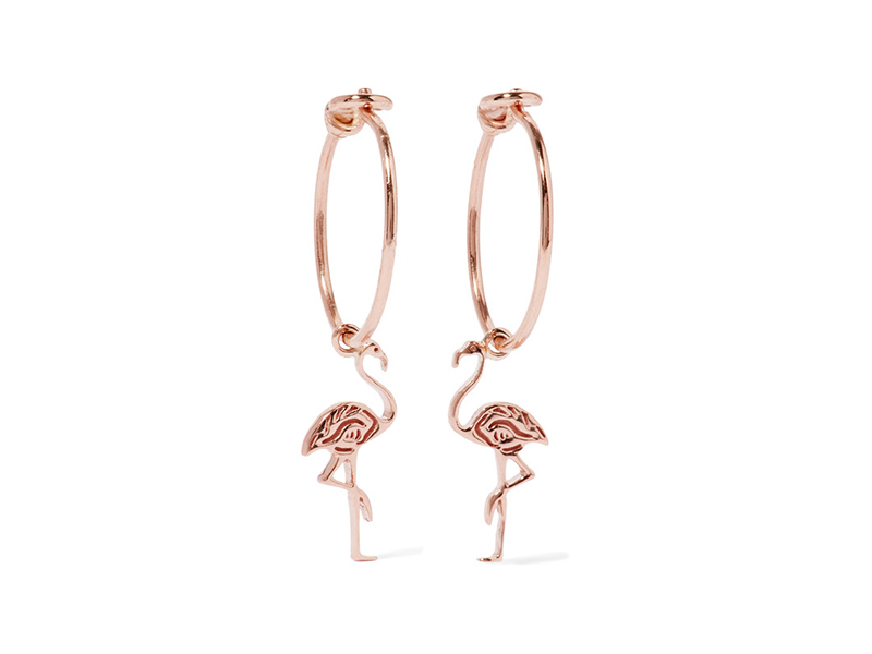 I+I Flamingo earrings mounted on rosegold - 310 €