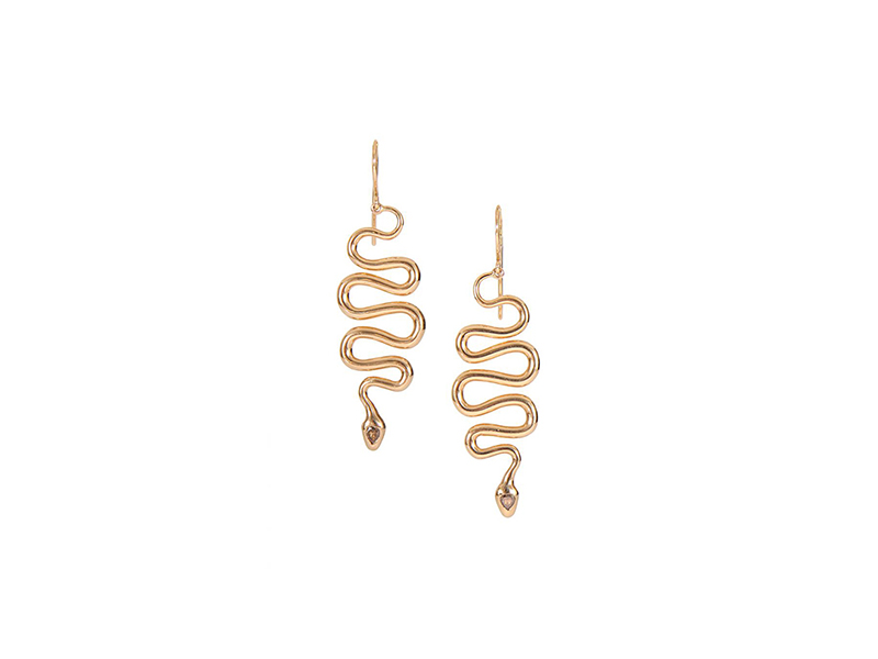 Ileana Makri Black mamba earrings mounted on pink gold with brown diamonds - 3'425 €