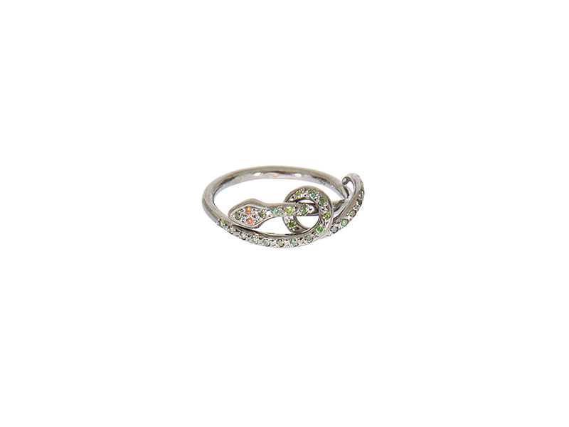 Ileana Makri Twisted snake ring mounted on oxidized pink gold with green and burgundy diamonds - 1'525 €