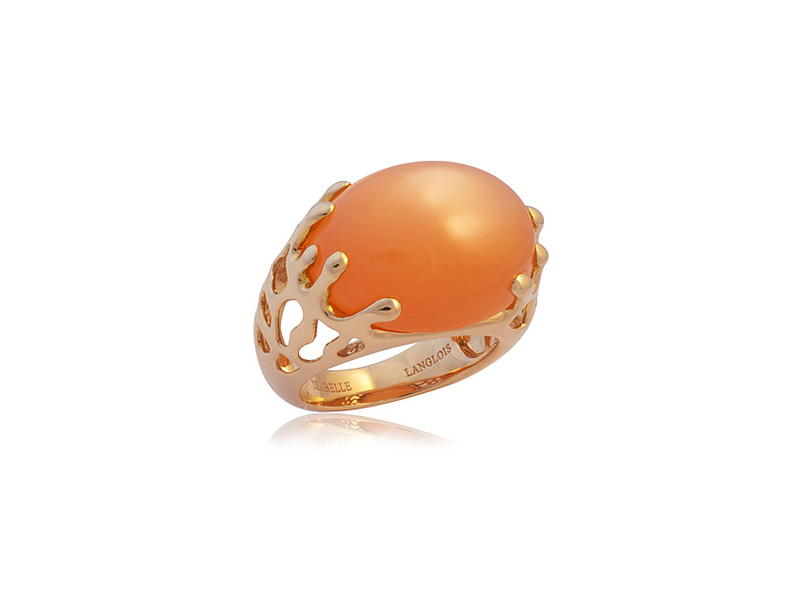 Isabelle Langlois Etoile de mer collection mounted on rose gold with orange moonstone