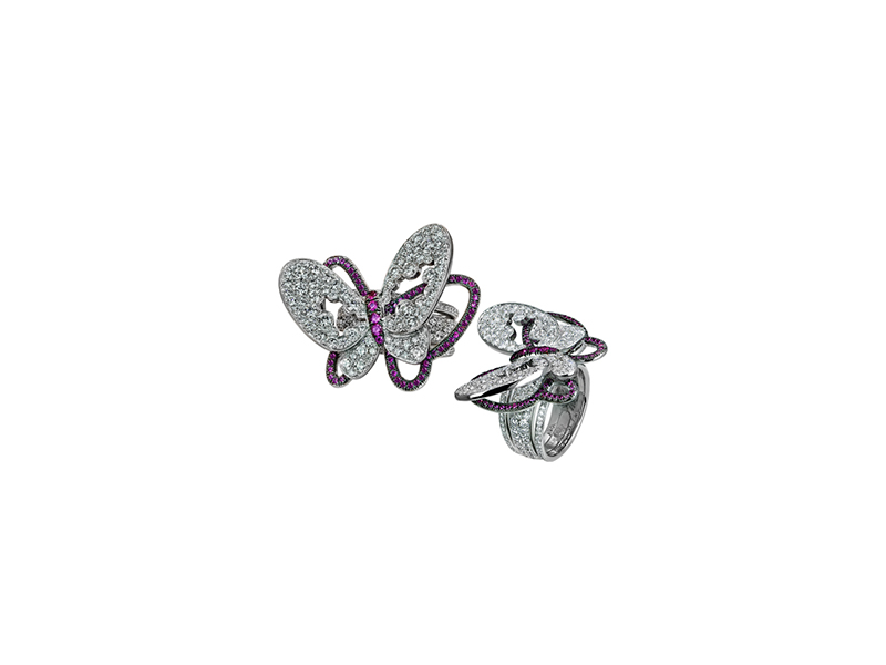 Jacob & Co Diamonds butterfly ring mounted on white gold set with white diamonds & pink sapphires