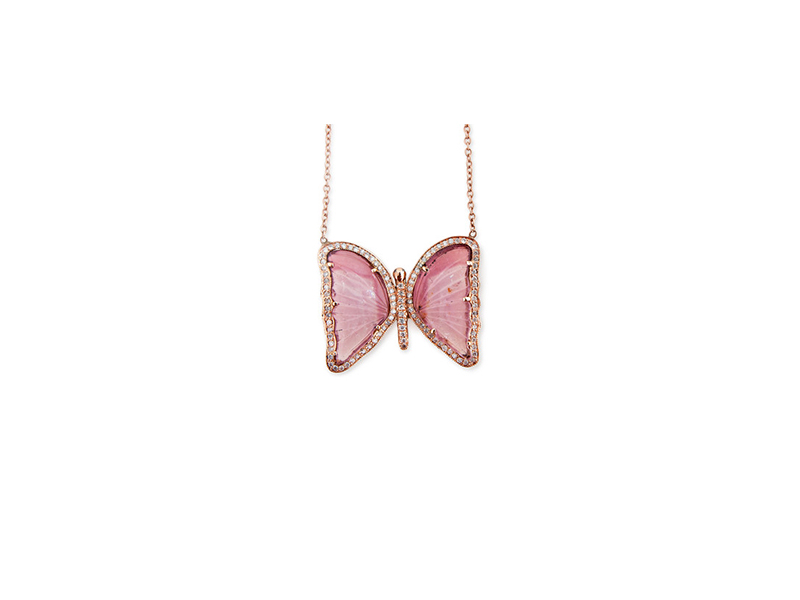 Jacquie Aiche Pink Tourmaline Butterfly Necklace mounted on rose gold with pink tourmaline, 8750$