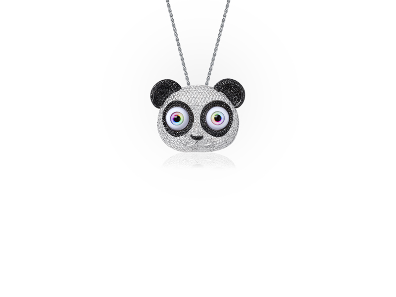 Jason of Beverly Hills The Panda Pendant mounted on white gold with black and white diamonds