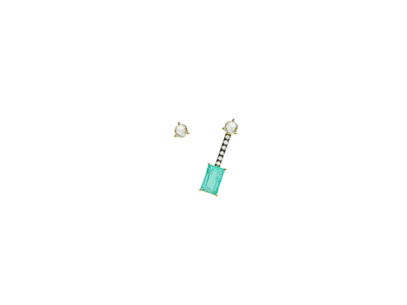 Jemma Wyne Limited Edition Emerald and Diamond Stud