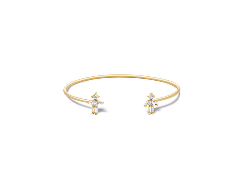 Littles Ones Paris Open bangle mounted on rose gold with diamonds