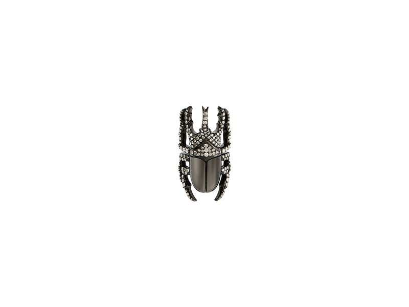 LynnBan beetle ring mounted on rhodium silver with grey diamonds - 2'775 €