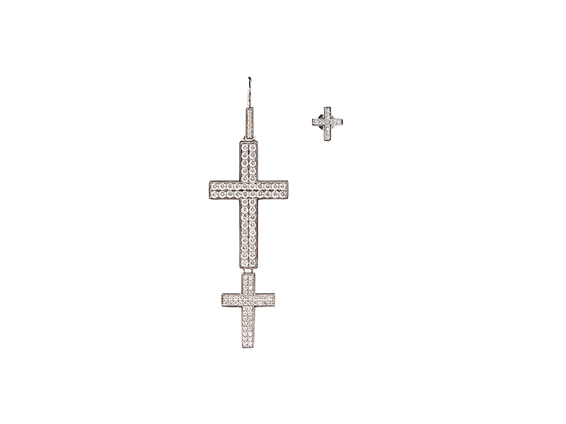 Lynn Ban Double Cross earrings mounted on silver with white diamonds
