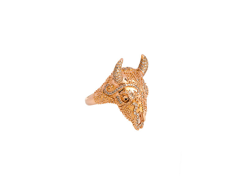 Nessa Wild buffalo ring mounted on pink gold with brown diamonds 7'065 €