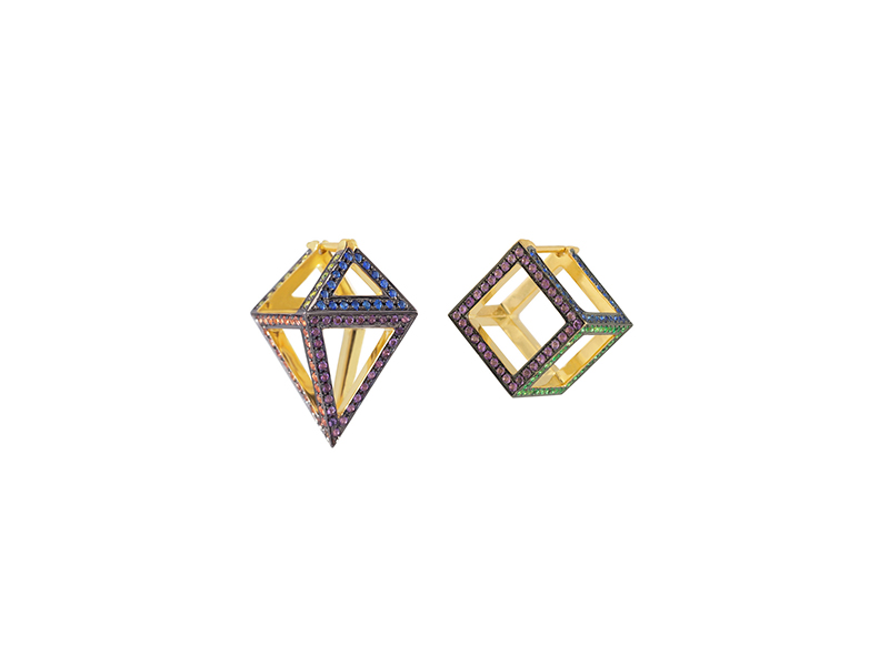 Noor Fares Cube & Octahedron Asymmetric Earrings mounted on yellow gold set with various colored stones and finished in black rhodium