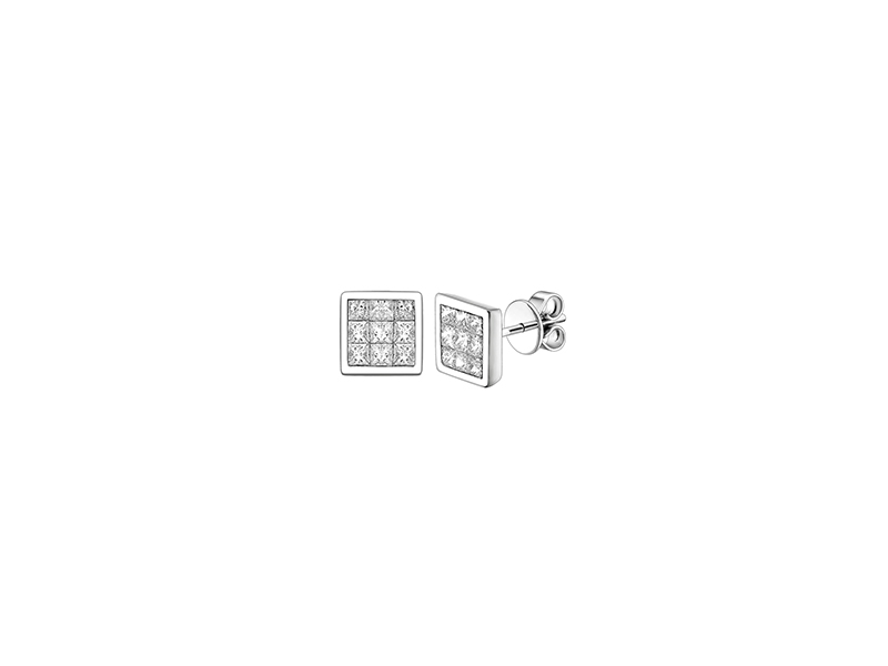 Peter Lam Quad earring in white gold with diamond