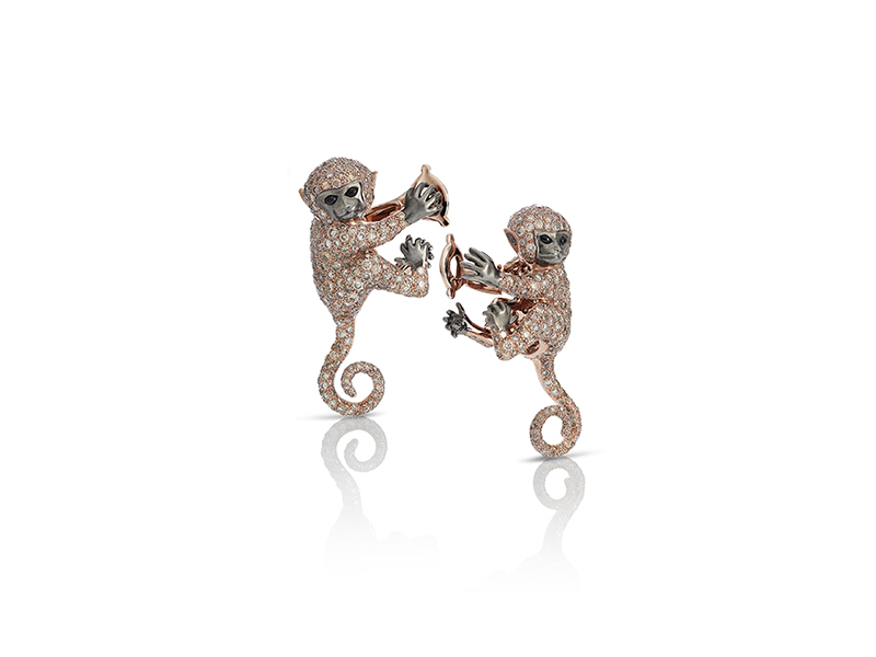 Roberto Coin Cheeky Monkey mounted on rose gold with diamonds