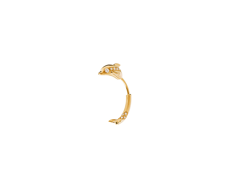 Sophie Bille Brahe Elisa dolphin mounted on yellow gold with white diamonds - 1'590 €