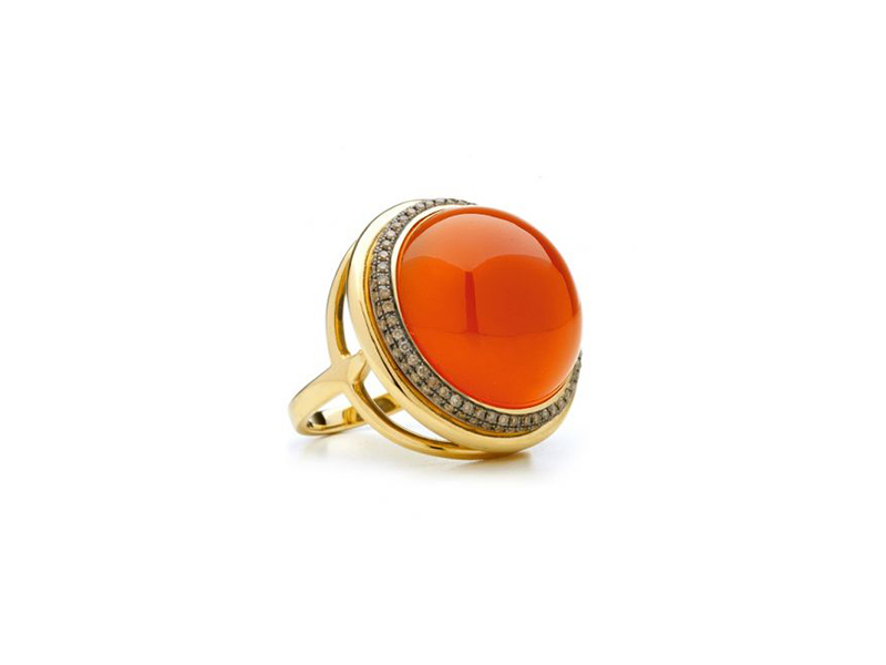 Syna Mogul Large Orange Chalcedony Ring with Champagne Diamonds