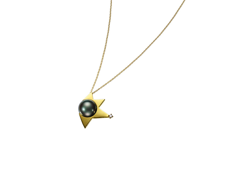 Tasaki Comet pendant mounted on yellow gold with south sea pearl and diamonds