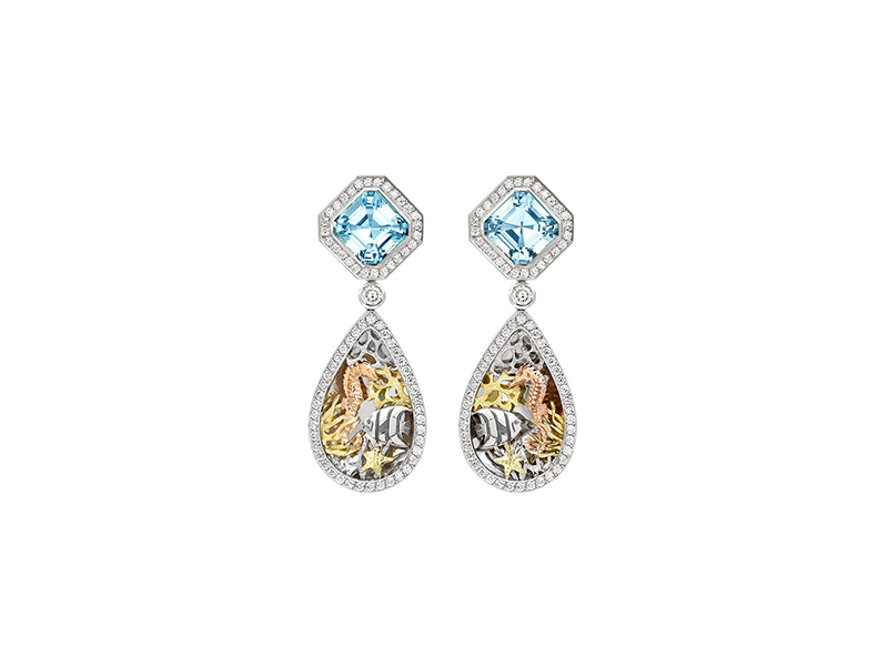 Theo Fennell's Under The Sea earrings is decorated with aquatic animals in white, yellow and rose gold - 21,000 £